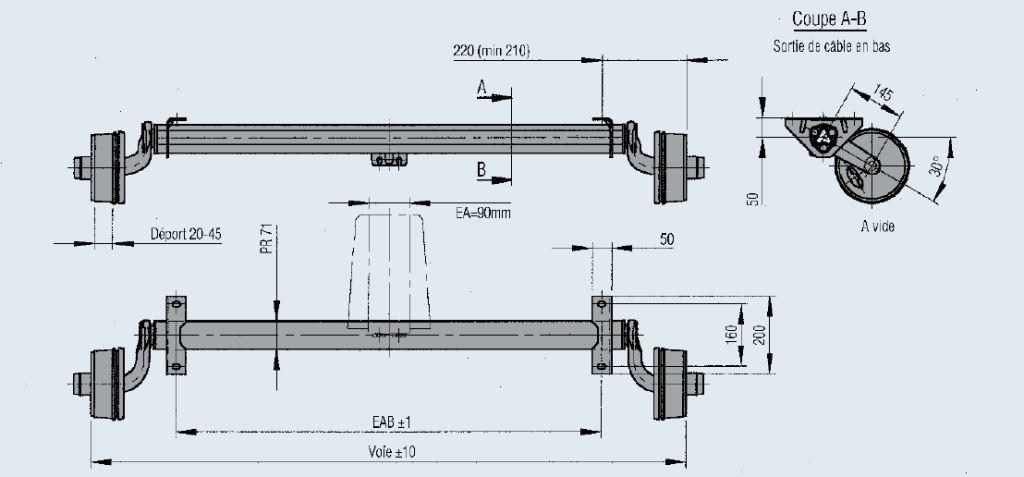essieux standard frein s 750 kg essieux frein s franssen vente d 39 attelages et pi ces d tach es. Black Bedroom Furniture Sets. Home Design Ideas